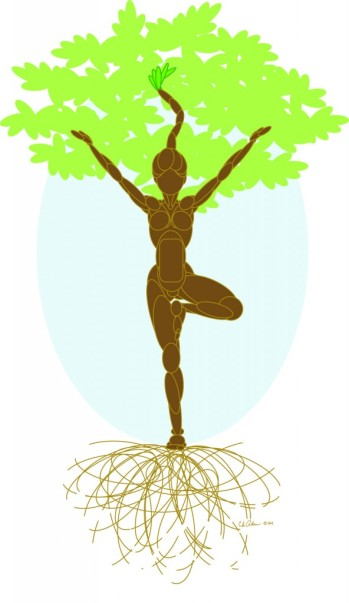 Tree Pose (tree by C.S. Adams, from okiemama.com)